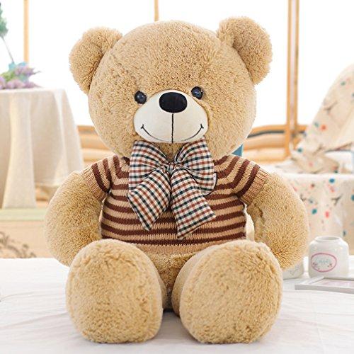 VERCART 120CM Großer riesiger Riesen-gefüllter tierischer Teddybär mit Fliege und Strickjacke Plüsch-weiche Puppen