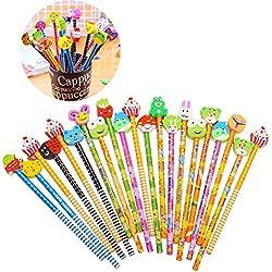 Gudotra Set Lápice de Madera con Borradores de Animados para Niños Regalos Fiesta Cumpleaños Bautismo Comunión Navidad Lápices Infantiles(44)