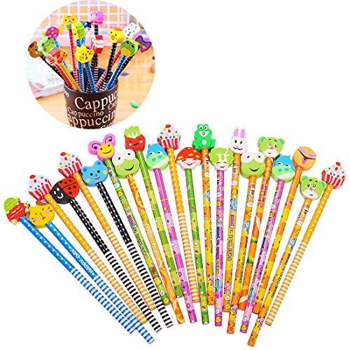 Gudotra set 44 pcs matita in legno con gomma colorate bomboniera regalino per regalo bambini festa compleanno battesimo comunione natale (44)