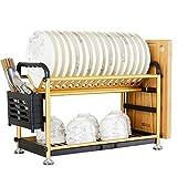 WXiaJ-Küchenregal Multifunktionsabtropfgestell-Küche-Speicher-Abfluss-Gestell-stehendes Gold 2 Schichten