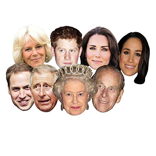 right goods right price 8 Pack Royal Family Face Masks Queen Phillip Kate William Harry Charles Camilla Meghan Wedding Jubilee Party Supplies Celebrities Face Mask Hen and Stag Parties Fancy Dress
