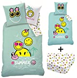 Decokids Smiley !!! Pack !!! Parure de lit + Drap Housse !!! 100% Coton - Housse de...