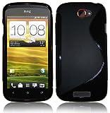 Silikonhülle Handyschale Gel Case Tasche für das HTC One S inkl. Displayfolie S-Line Black