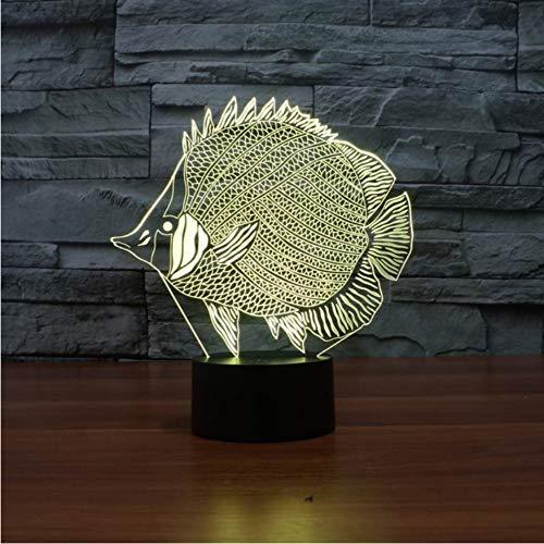 Lampe des Fisch 3d führte 7 Farbe die Rgb-Note 5v Usb-Neuheit 3d geführtes Nachtlicht Powerbank führte die Usb-Kinderlampe