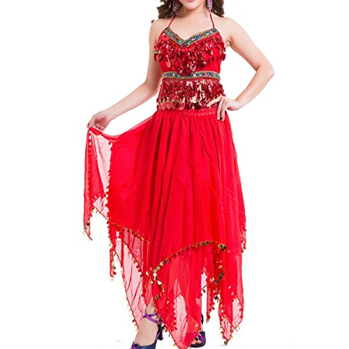 Outfit Shiny Belly Dance Kostüm Women's Performance Chiffon Bead Pailletten Belly Dance Set , red , (Kostüme Dance Outfits Contemporary)