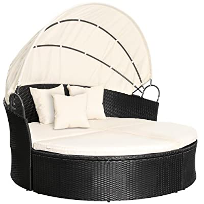 Miadomodo Rattan Sun Lounger Ø 180 cm (Choice of Colours) Height Adjustable Garden Furniture Day Bed Set Canopy Roof