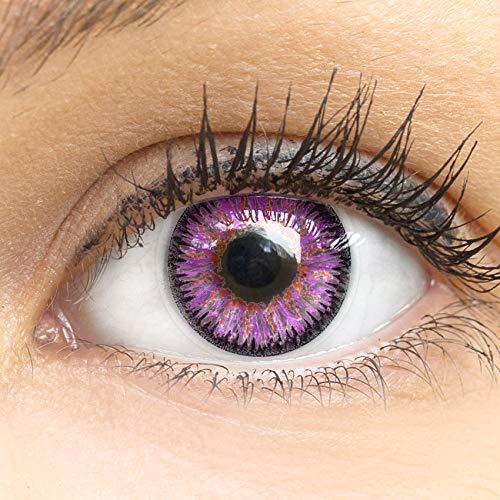 Lila Premium Kontaktlinsen Glamour Violet 14mm Farbige Meralens Linsen Ohne Stärke Lila + Kontaktlinsenbehälter, weiche 3-Monatslinsen im 2er Pack
