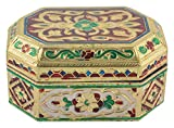 AMP Crafts Golden Minakari Crafted Wood Jewellry Box for Women (AMP-NH-14)
