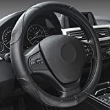 XuanMax Universal Funda de Volante Coche Cuero Genuino Respirable Cubre Volante Piel Cuero Autentico Vehiculo Cubierta del Volante Envoltura Protectora Antideslizante Auto Genuine Leather Steering Wheel Cover 38cm - Negro