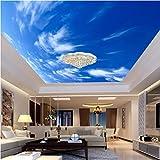 Makeyong Papier Peint 3D Personnalisé Murale Non Tissé Hd Bleu Ciel Blanc Nuages   Toit Plafond Décoration 3D Mur De Mur Murales Murales Mur Pour Mur-450X300cm