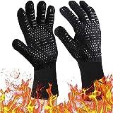 Grillhandschuhe Hitzebeständige Handschuhe zum Kochen 932℃- Ofen-Silikonhandschuh Feuerfest für Raucher Backen - Hochtemperatur Grillen Topflappen - Wärmeisolierter Kochhandschuh Weihnachten Mädchen