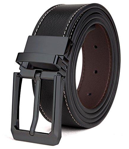 Tonly Monders Herren Gürtel Leder Reversible, Schwarz/Braun, 32mm Breit, 35,36,37,Taillenumfang