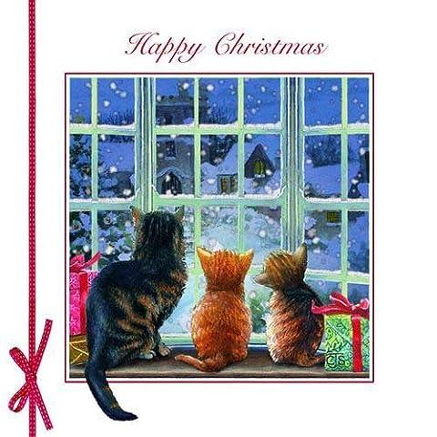 Weihnachtskarte - Snow is Falling - Katzenfenster (Katze Weihnachtskarten)