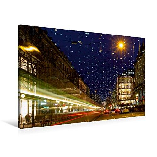 Premium Textil-Leinwand 90 x 60 cm Quer-Format Bahnhofstrasse in Zürich mit Weihnachtsbeleuchtung | Wandbild, HD-Bild auf Keilrahmen, Fertigbild auf hochwertigem Vlies, Leinwanddruck von Enrico Caccia