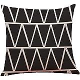 "Funda de almohada Vintage negro y blanco algodón lino tiro cojín cubierta Home Decor By LMMVP (45cmX45cm/18X18"", A)"