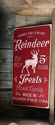 hild Kringel und Co Marke Rentier behandelt Feinste Qualität Made in North Pole USA Bemalt Holz Plaque 15x 30cm Zitat Schild ()