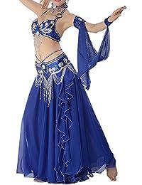 Danse du ventre femmes perles Sequined mousseline Double Couche Performance Outfit