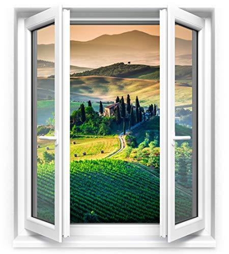 Adesivo finestra sulla toscana - sticker trompe l'oeil di alta qualità   70 x 80 cm