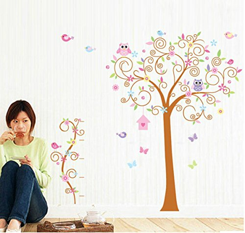 Clest F&H Free shippingOwl large tree 170cm*180cm Home Decor Mural Decal vinyl Wall stickers for kids rooms by F&H Wall (Halloween Disney Wallpaper)