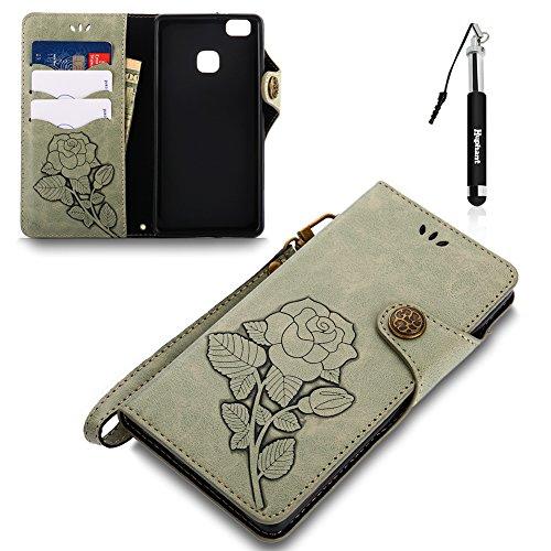 Huphant Compatible for Huawei P9 Lite Hülle, Huawei P9 Lite Tasche Leder, Flip Case PU Leder Handy Tasche Hülle Wallet Case Magnet Weiche hülle case Schutzhülle für Huawei P9 Lite(5.2