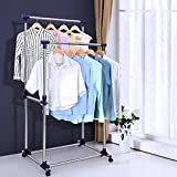 The Planet Zone Stainless Steel Double-Pole Clothes Hanger/Rack Clothes Hanging Garment Rack Rolling Bar Rail Rack Clothes Rack