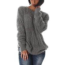 350a8320f2e8b8 Jela London Damen Glitzer-Pullover Feinstrick Fransen Häkelmusterung  Flauschig Glanz Oversize (36/38