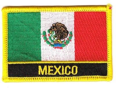 Flaggen Aufnäher Patch Mexiko / Mexico Schrift Fahne