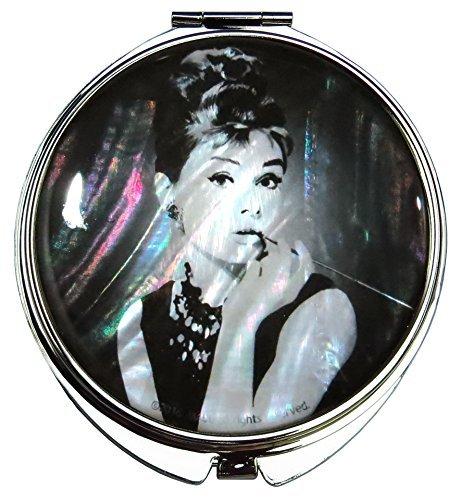 Audrey Hepburn Handheld Schminkspiegel Mother of Pearl Metall Dual kompakt zusammenklappbar vergrößert schwarz weiß -