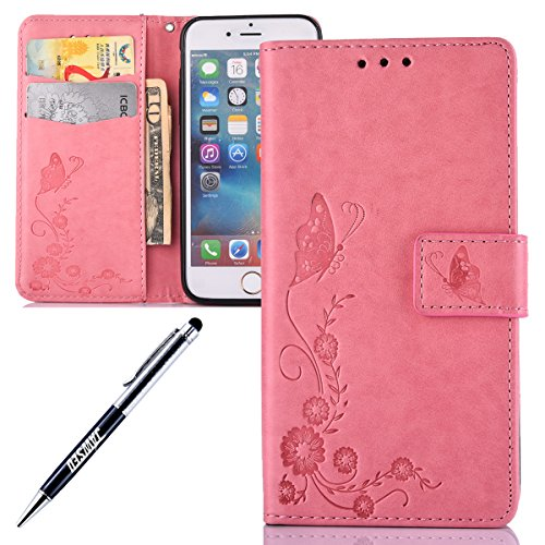 iPhone 6S Plus Schmetterling Hülle,iPhone 6 Plus Ledertasche,JAWSEU Vintage Retro Prägung Schmetterling Leder Wallet Case Cover Blumen Magnetverschluss Kunstleder Book Style Schutzhülle Handyülle Brie Pink Butterfly