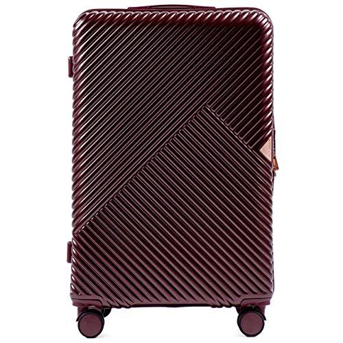 VINCI LUGGAGE EIN großer Handgepäckkoffer für die anspruchsvollen Kunden. Hartschale, 4 Rollen, Zahlenschloss, Ausziehgriff (Dunkelrot, Set)