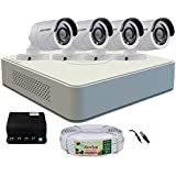Active Feel Free Life Hikvision 4 Channel DVR & 4 Bullet CCTV Camera with Active Cable & Power Supply Surveillance Kit
