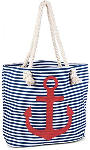 Blau Gestreifte Tote (styleBREAKER Strandtasche in Streifen Optik mit Anker, Schultertasche, Shopper, Damen 02012038, Farbe:Blau-Weiß / Rot)