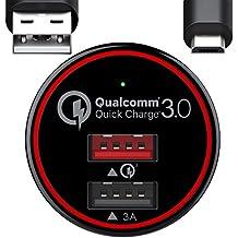 BC Master Ricarica Rapida Caricabatterie Auto Samsung Quick Charge 3.0 + 3A 34.5W , Caricatore USB Auto con 2 Porte per Samsung S6 S7 edge Note 4 Note 5 Huawei Mate 7 8 LG ecc. Cavo USB Micro da 1m Incluso - Nero(QC 3.0), Garanzia 2 Anni