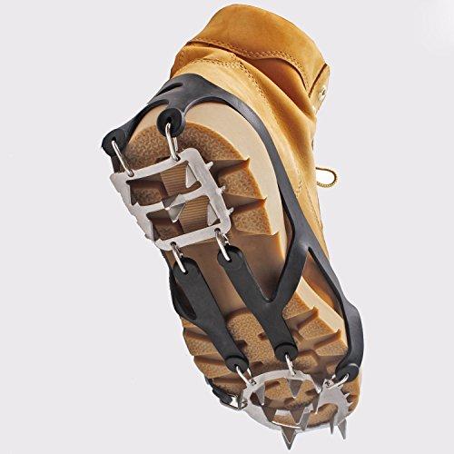 Schuhspikes Silikon Schneeketten, MBLAI Grödel Schuh-Spikes Schuh-Krallen Überzieher 18 Zähne Edelstahl Steigeisen Anti Rutsch Spikes für High Altitude Wandern Eis Schnee mit Eis Spikes, Griffe