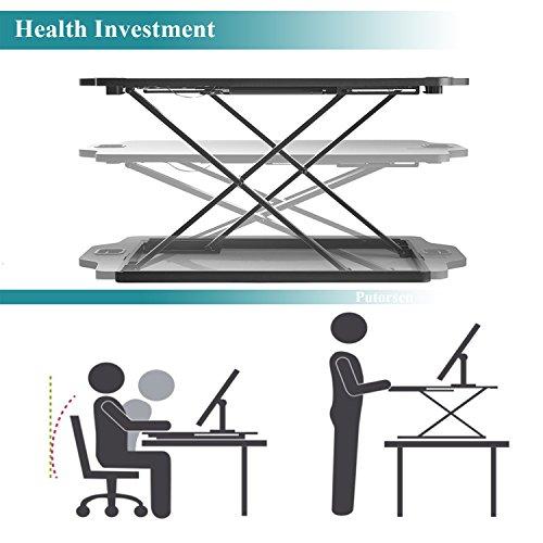 PUTORSEN Höhenverstellbar Sitz-Steh-Schreibtisch Computertisch - Schreibtischaufsatz Steharbeitsplatz Standtisch - Tabletop Stehpult Konverter für Ergonomic Comfort (32'' - Schwarz) - 6
