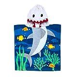 Florica 100% Baumwolle Kinder Jungen Mädchen Kapuzenponchos Schwimmen Bad Handtuch Badetuch Bademäntel (Hai)