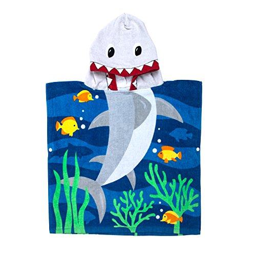 Florica 100% Baumwolle Kinder Jungen Mädchen Kapuzenponchos Schwimmen Bad Handtuch Badetuch Bademäntel (Hai) - Poncho-handtuch Kinder