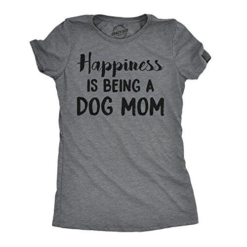 Crazy Dog Tshirts Womens Happiness is Being A Dog Mom Tshirt Cute Funny Animal Lover Puppy Tee for Ladies -3XL - Damen - 3XL (Lustig, Mom-t-shirts)