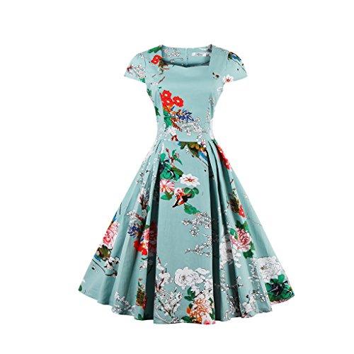 Oriention 1950s Rockabilly Kleid Blumenkleid Vintage Retro Partykleider Cocktailkleider Sommerkleid damen Knielang (38, Grün)