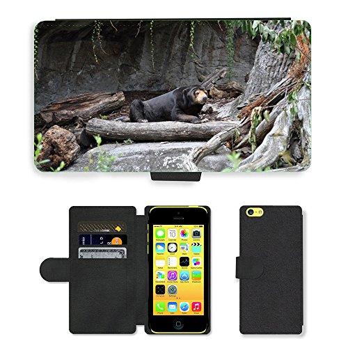 Just Mobile pour Hot Style Téléphone portable étui portefeuille en cuir PU avec fente pour carte//m00139851Animaux Ours Bear Zoo//Apple iPhone 5C Noir