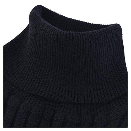Miusol Wollkleid Strickkleid hoher Kragen Figurbetontes Pullover Kleid - 3