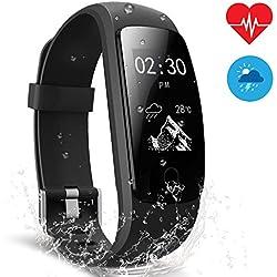 AIMIUVEI Pulsera Actividad Pulsera Inteligente con GPS para Correr, Nivel de Salud Cardiorrespiratoria, Guía de Respiración, Monitor de Ritmo Cardíaco y Sueño, Impermeable 67 para iOS y Android