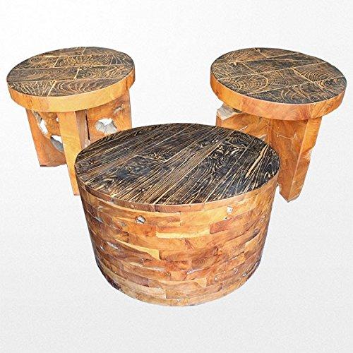 Table ronde en teck et ses chaises en bois brut