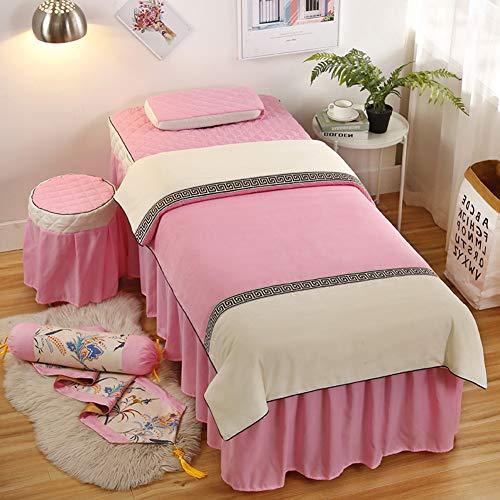 ynh Einfache Massage-Blatt-Sets,jacquarde Weich Beauty-Bett-Abdeckung Vierteilige Salon-körper-Fumigation-Physiotherapie Massage-bettdecke-m 180x60cm(71x24inch) -