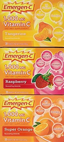 Tangerine-drink-mix (Emergen-c Vitamin C 1000mg 90 Packets 3 Cartons NET Wt 29.1 ounce (828g))