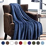 Flannel Fleece Blanket Blue Navy Throw Lightweight Cozy Plush Microfiber Solid Blanket by Bedsure