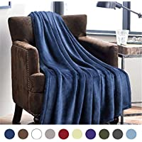 Flannel Fleece Throw Blankets Navy Blue - Super Soft Fluffy Warm Solid Bed Throws for Sofa - Luxury Microfiber blanket 130x150cm by Bedsure
