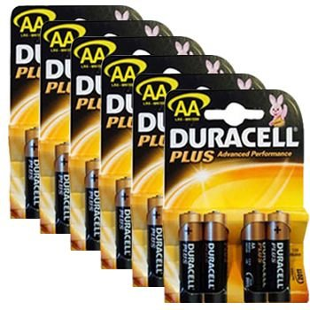 Duracell mn1500plus-b4(6Packungen) Plus Alkaline Batterie, AA Größe Alkaline General Purpose Batterie