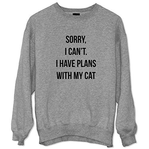 Sorry I Can't I Have Plans With My Cat Felpa Sweatshirt Sweater Unisex / Spedizione Veloce / S M L XL XXL dimensioni