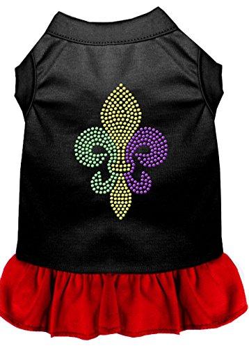 Mardi Gras Fleur De Lis Kleid mit Strasssteinen, 25,4 cm, Small, Schwarz mit Rot ()